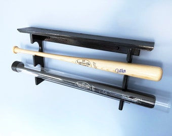 Horizontal 2 Baseball Bat Rack with trophy or ball shelf for regular full sized bats