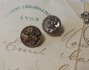 2 Victorian Picture Buttons Hand Holding A Posy