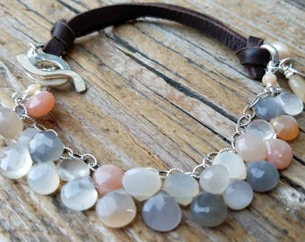 Multi Moonstone Bracelet and Hill Tribe Silver, June Birthstone, AAA Moonstone, Sterling Silver Karma Charm, Peach Moonstone