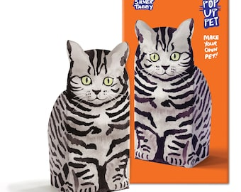 Pop Up Pet Cat - Silver tabby