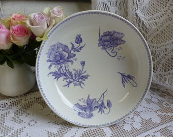 RESERVED for K !! Antique french lavender transferware cake stand. Lavender french transferware. Compote stand. French ironstone. Purple
