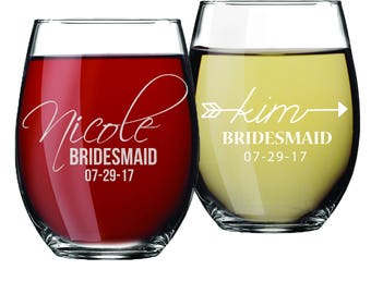 Bridesmaid Stemless Wine Glasses, Personalized Wine Glass, Bridesmaid Gift, Custom Wine Glasses,  Wine Glasses Personalized, Etched Stemless