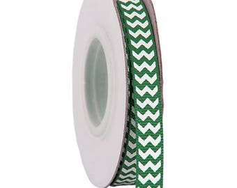 "Grosgrain Chevron Ribbon 3/8"" - 10 Yards - Green"