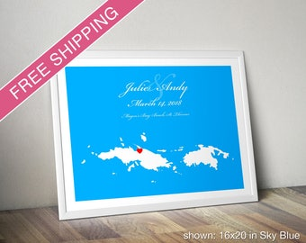 Personalized St Thomas & St John Map Print - Wedding Guest Book Poster, Wedding Gift, Engagement Gift