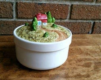 Vintage Lillian Vernon Canister, Ceramic House Figural Sugar Bowl, Trinket Jar with Lid