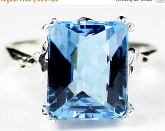 On Sale, 30% Off, Swiss Blue Topaz , 925 Sterling Silver Ring, SR188