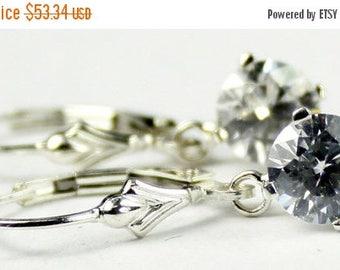 On Sale, 30% Off, Cubic Zirconia (CZ), 925 Sterling Silver Leverback Earrings, SE017