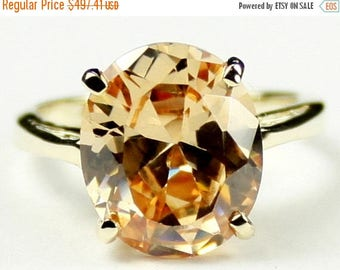 On Sale, 30% Off, Champagne CZ, 14Ky Gold Ring, R055