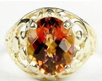 On Sale, 30% Off, Twilight Fire Topaz, 18KY Gold Ring R004