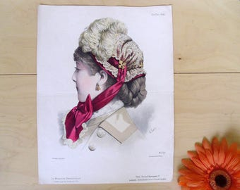 Fashion print lithograph , French fashion print , Magazine plate 1881