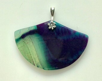 Fan Shaped Agate Pendant - Pale Turquoise and Purple Blue Fan Shaped Natural Stone Pendant