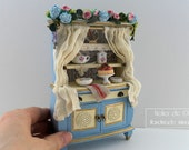 1:12th Scale ~ Dolls House ~ Handmade miniCountry cottage kitchen dresser  ~ Complete with Reutter Accessories