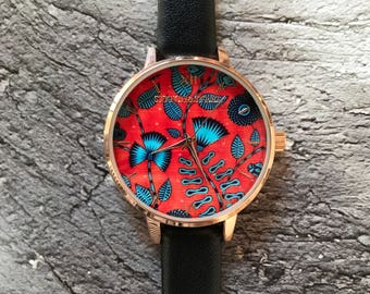 Leaves of the forest Turquoise and Red African Print Women's Watch