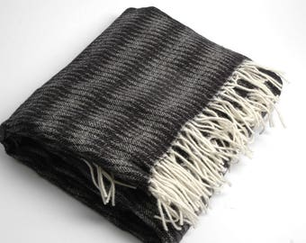 Pure Merino Wool blanket with fringes Striped Black White Wool blanket Pure wool throws Merino Wool throw 51''X81''130X205cm Perfect gift