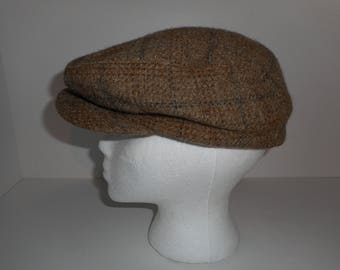 Vintage Tan Tweed Houndstooth Union Made Stetson Newsboy Cabbie Hat Cap Large