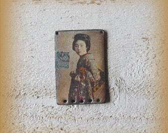 RESERVED charm copper enamel jewelry, old photo of Japanese woman, Japan, vintage, Bohemian, exotic, handmade