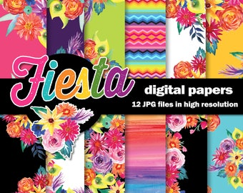 Fiesta Watercolor Digital Papers /  Mexican Flowers / 12 High Res Floral  Scrapbook Papers