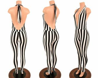 "Black & White Stripe UV GLOW ""Josie"" Halter Catsuit - 155120"