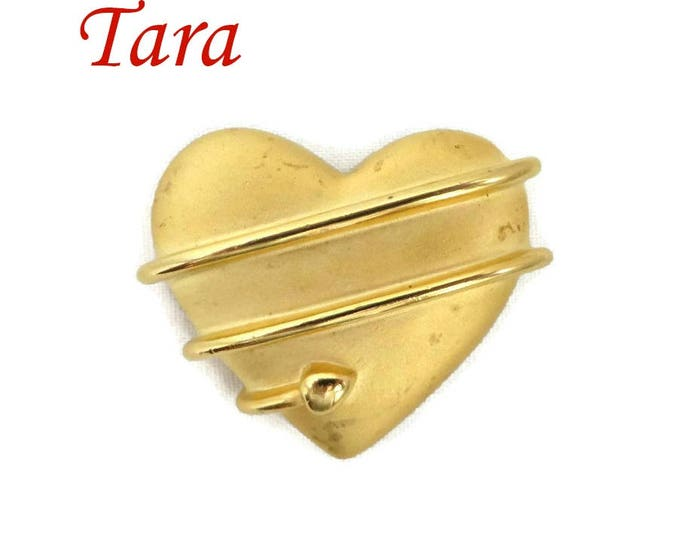 Heart Brooch - Vintage Signed Tara Matte Gold Tone Heart and Arrow Pin, Gift for Her, Gift Box, FREE SHIPPING