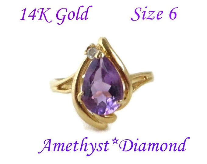 14K Gold Amethyst Ring - Vintage Pear Shaped Amethyst & Diamond Accent Ring, Size 6, Perfect Gift, Gift Box