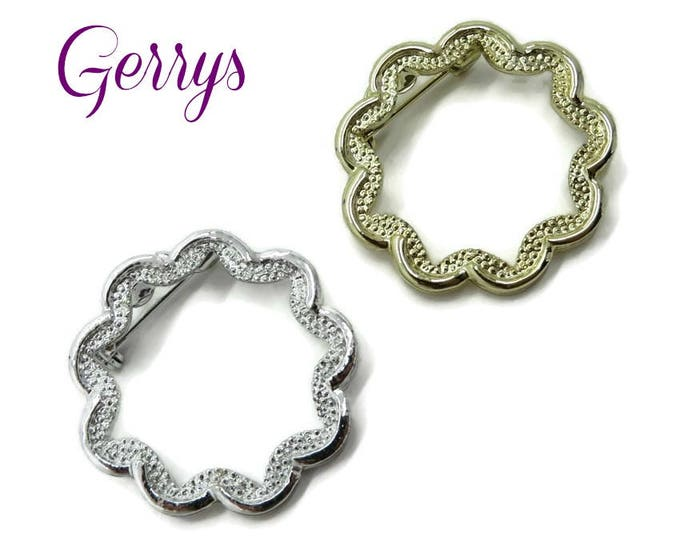 Circle Brooch Pins - Vintage Gerry's Gold Tone Silver Tone Wavy Circle Brooch Pair, Gift for Her, Gift Box, FREE SHIPPING