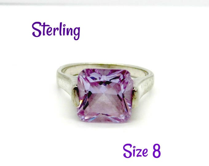 Sterling Silver Amethyst Glass Ring, Vintage Princess Cut Costume Jewelry Ring, Size 8, Gift Idea, Gift Box, FREE SHIPPING