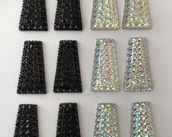 6 pairs Trapezoid black clear AB resin rhinestone flat backs