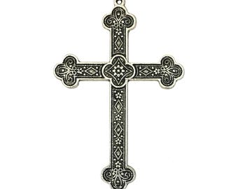 3 Ornate Extra Large Silver Cross Pendant for Necklace 80x53mm by TIJC SP0031