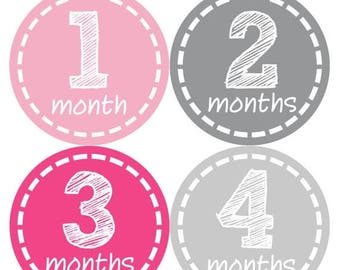 Baby Monthly Stickers, Baby Girl Monthly Stickers, Milestone Stickers, Baby Girl Month Sticker - Baby Girl, Girl, Baby Shower Gift 183