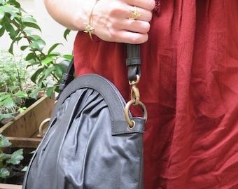 "Black lambskin leather purse model ""Vintagefolds"""