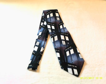 necktie or clip on tie made from The Doctor Who Tardis police box cotton fabric, whovian, cosplay, comic con, wedding, teacher, sci-fi, geek