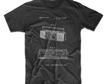 Boom Box Patent T Shirt, Cassette Player, Cassette Recorder, CD Player, Boombox, Retro Radio, 80s Shirt, PP0752