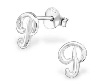 925 Sterling Silver Small Script Initial Letter P Stud Earrings - ES-JB9095