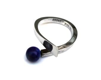 Betty Cooke Modernist Sterling Ring Lapis Lazuli Size 7.75