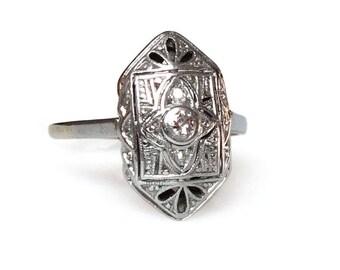 Antique Ring Edwardian Art Deco Platinum On Gold  Diamond Size 6