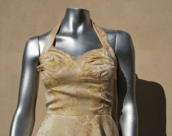 1950s GOLD BROCADE HALTERNECK evening dress