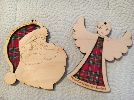Wooden Christmas Decorations with  a Touch of Tartan!