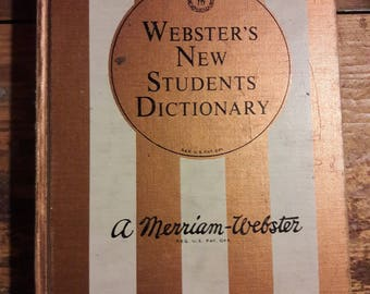 1964 Webster's New Students Dictionary - Antique Vintage Dictionaries - Decorative 1960's Books for Home Decorating - Old Collectible  Books