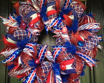 Patriotic, July 4th, America, Red, White and Blue Deco Mesh Front Door Wreath