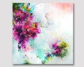 Original XXL abstract fine art, extra large colorful art, bold colors, deep magenta turquoise and pink acrylic painting on stretched canvas