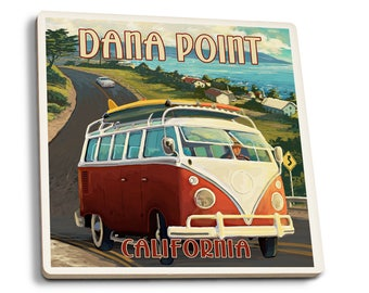 Dana Point, CA - VW Coastal - LP Artwork (Set of 4 Ceramic Coasters)