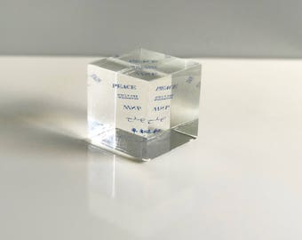 Lucite Peace Paperweight / Peace Paperweight Cube