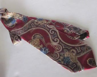 Vintage BILL BLASS Man's Necktie-Merlot Burgundy with Blue & Camel Paisley Pattern-100% Luxurious Silk Made for Lord and Taylor