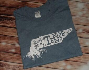 Tennessee Roots Thankful Ladies Women's Custom HTV Vinyl shirt