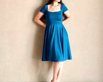 Deep Teal CHERRYBOMB Swing Dress, Mod Retro Bridesmaid Semi Formal Party Dress with Short Sleeves, MISSES Knee Length 38""