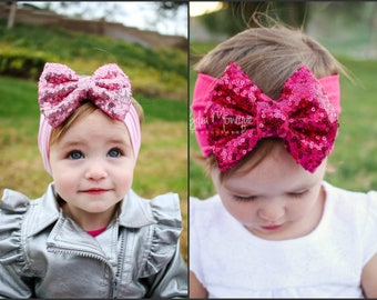 Baby girl headband, pink or hot pink headbands, pink bow, infant headbands, baby bows, infant head wrap, first birthday, sequin sparkle bow
