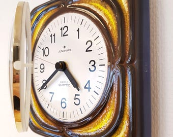 Midcentury modernist Junghans vintage Ceramic Wall Clock. Yellow - blue - brownish. Eames era.