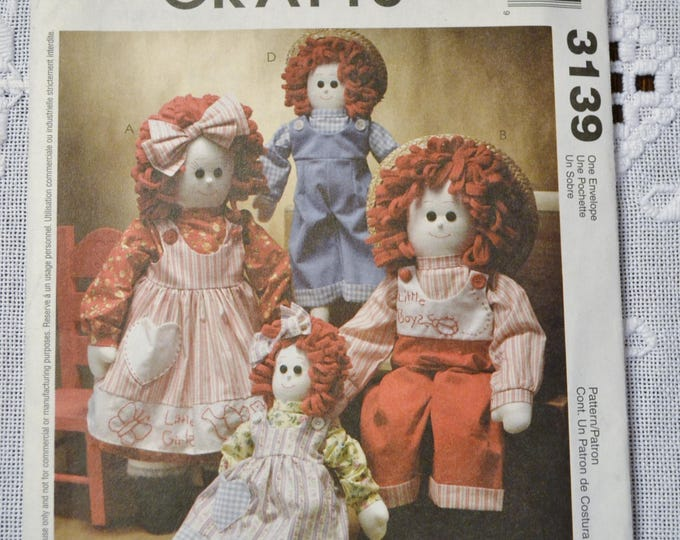 Vintage McCalls 3139 Doll Pattern 16 and 22 inch Raggedy Ann Style Sewing Pattern DIY Fashion Sewing Crafts PanchosPorch