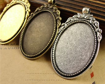 Vintage Photo Glass Cabochon Blank Pendant Cameo Bases 30*40mm Oval Cabochons Tray Glass Cabs Bases Jewelry Necklace Pendants PTO34-A3794