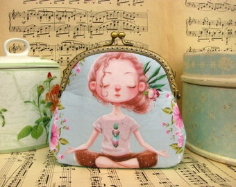 Vintage cosmetic bag with young lady in lotus pose, kiss lock purse